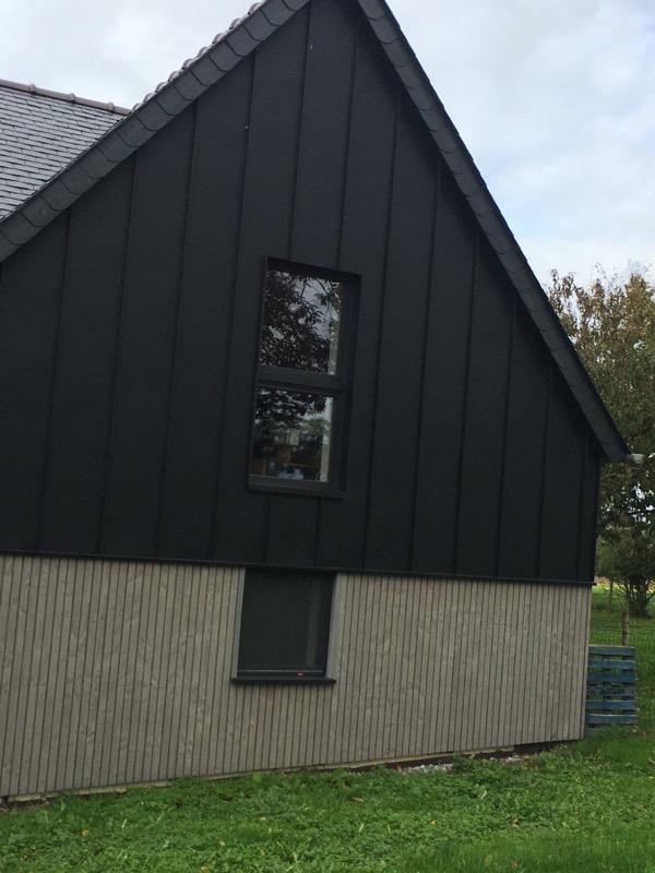 Chantier maison bardage Zinc Renne AFT Couverture